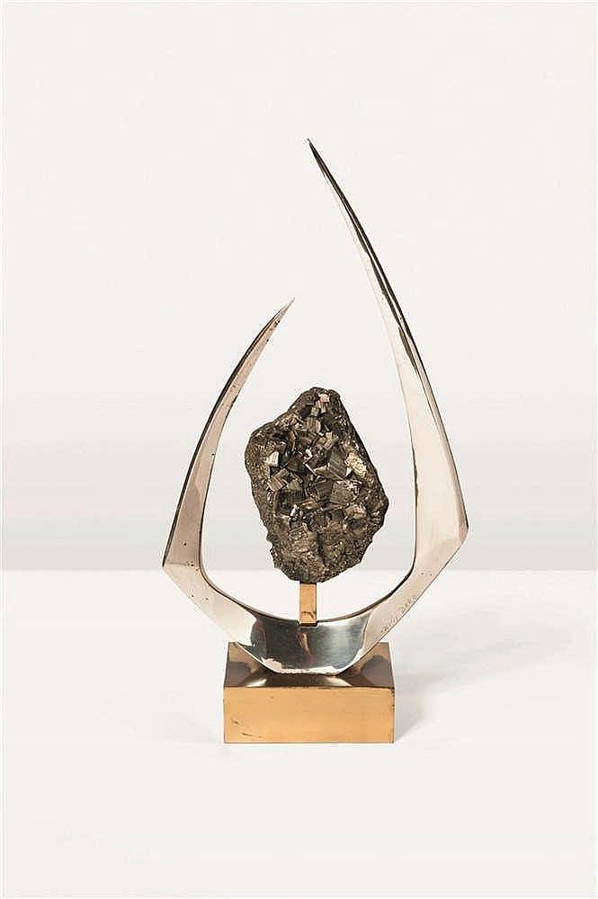 WILLY DARO Sculpture Laiton, acier doré et pyrite.Signée à la pointe. Sculp