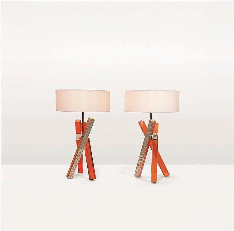 MAISON ARMAND JONCKERS    Ambre et lumière Pièce unique Lampe à poser Maill