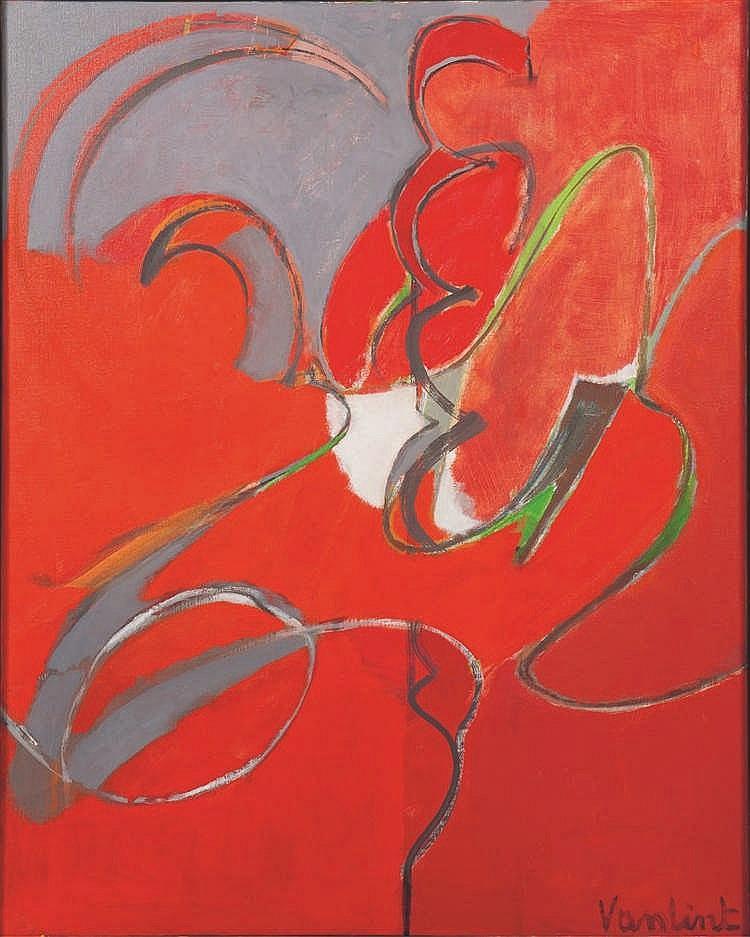Louis Van Lint (1909-1986)   Mécanique rouge, circa 1972 Huile sur toile. S