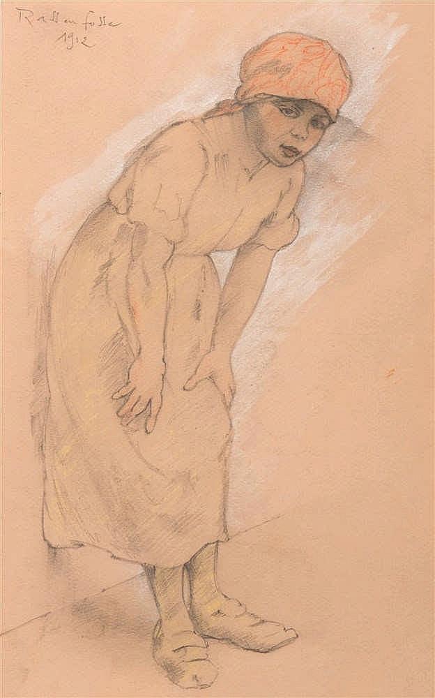 Armand Rassenfosse (1862-1934) Une hercheuse, 1912 Mine de plomb, gouache