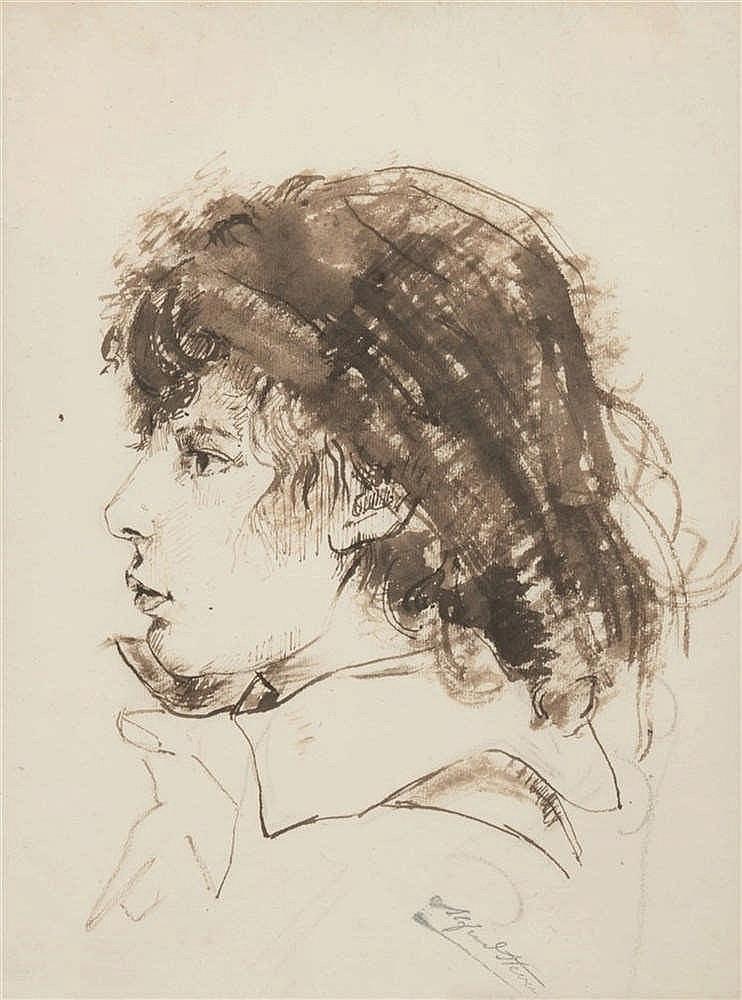 Alfred Stevens (1823-1906)   Portrait d'enfant Encre brune et lavis sur pap