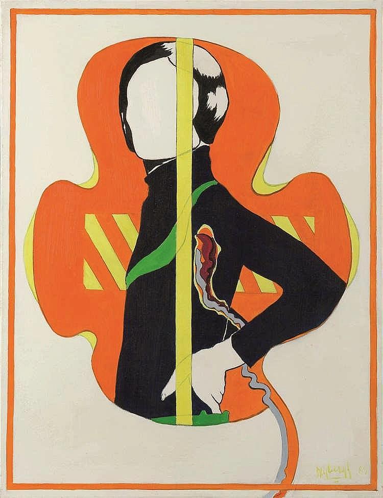 Charles Drybergh (1932-1990)   Vrouw, 1969 Huile sur toile. Signée et datée