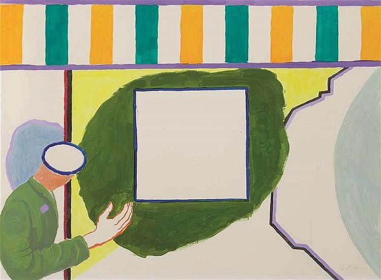 Roger Raveel (1921-2013)   Eikende hand, 2002 Gouache sur papier. Signée en