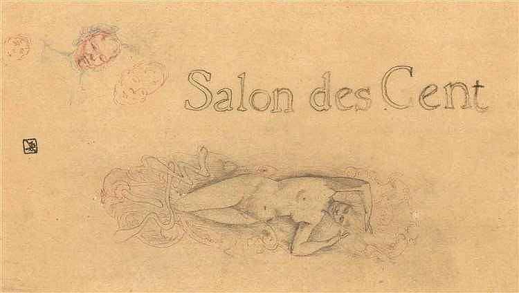 Armand Rassenfosse (1862-1934)   Salon des Cent Mine de plomb, sanguine et