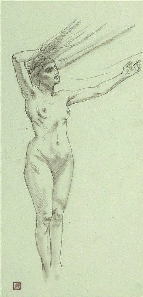 Armand Rassenfosse (1862-1934) Figure au vent Mine de plomb et estompe sur