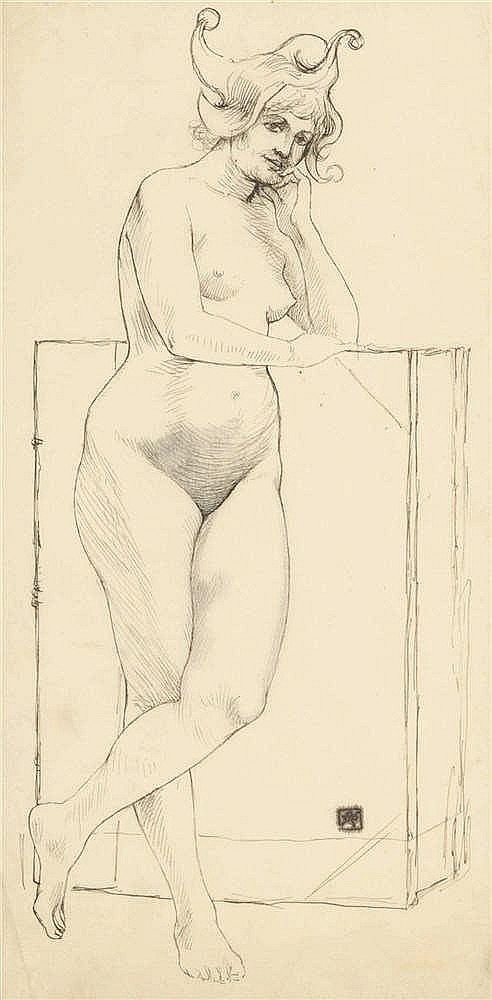 Armand Rassenfosse (1862-1934) Femme nue au chapeau Encre et mine de plom