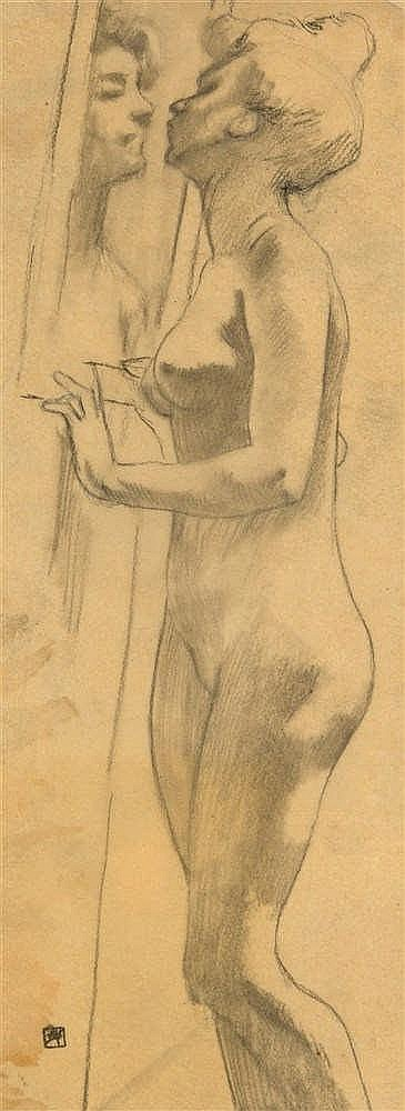 Armand Rassenfosse (1862-1934)   Le miroir Mine de plomb sur papier calque.