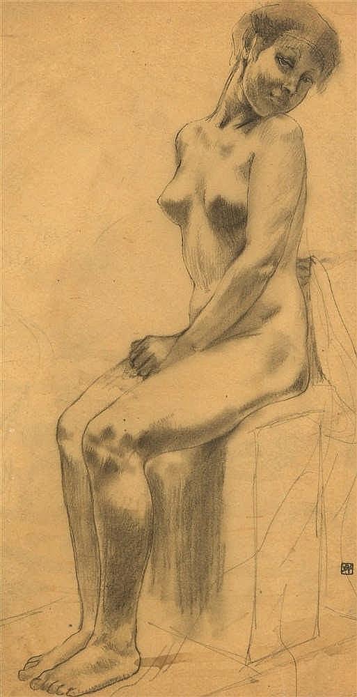 Armand Rassenfosse (1862-1934)   Femme nue assise Mine de plomb, crayon gra