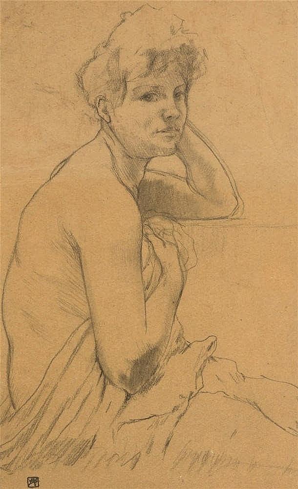 Armand Rassenfosse (1862-1934) Femme accoudée Mine de plomb et estompe su