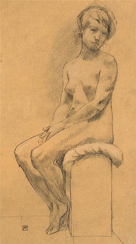 Armand Rassenfosse (1862-1934) Femme nue assise, mains croisées Mine de p