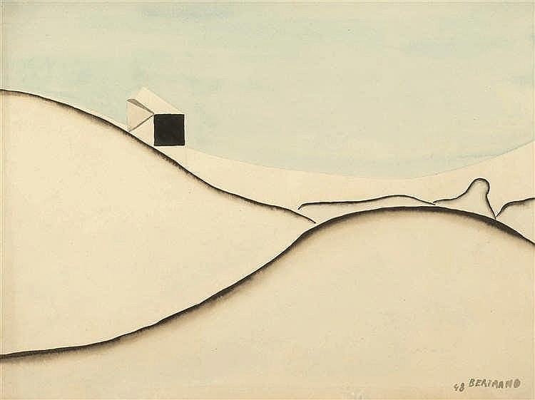 Gaston Bertrand (1910-1994)   Maison dans les dunes, 1948 Aquarelle sur pap