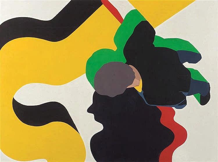 Guy Baekelmans (né en 1940) Dilemna, 1969 Tempera sur toile. Signée et da