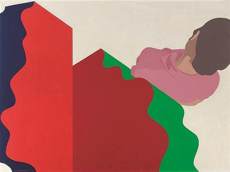 Guy Baekelmans (né en 1940) Absent minded, 1969 Tempera sur toile. Signée