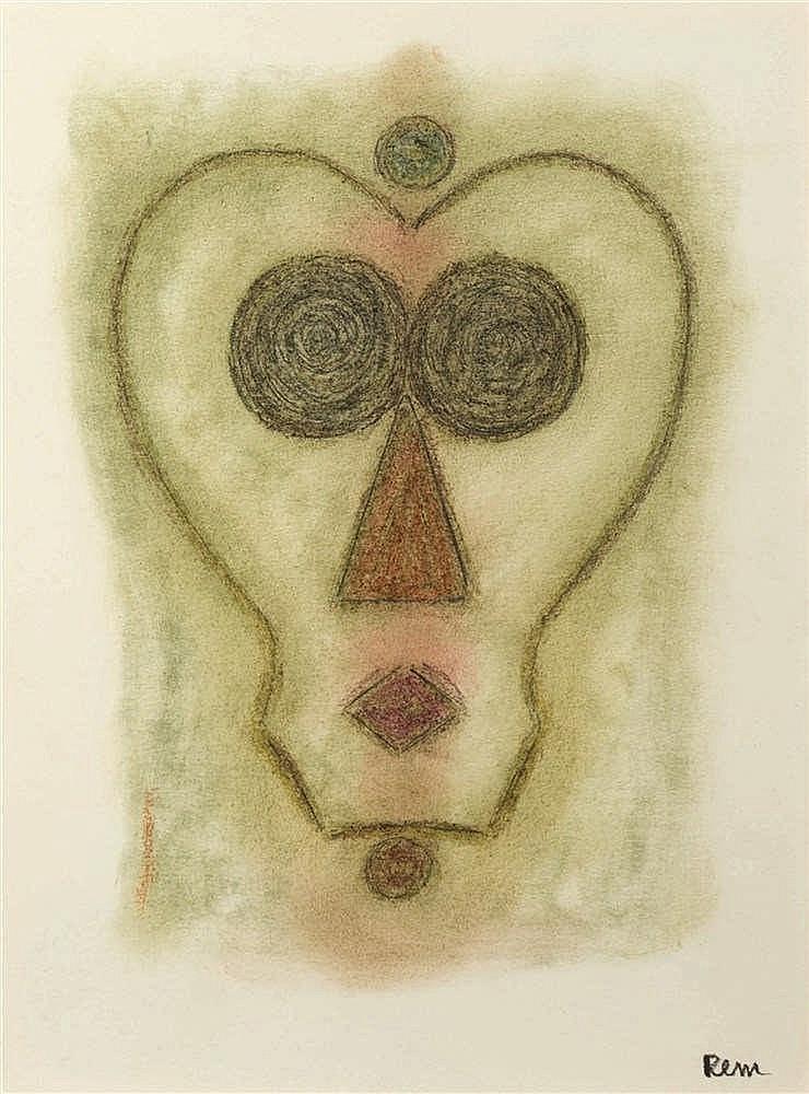 REM (Raymond Coninckx) (1904-1974)   Sans titre Pastel sur papier. Signé en