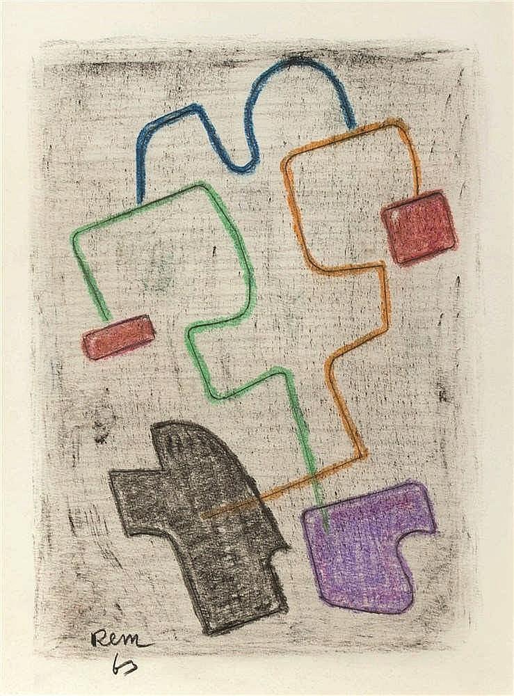 REM (Raymond Coninckx) (1904-1974)   Sans titre, 1963 Pastel sur papier. Si