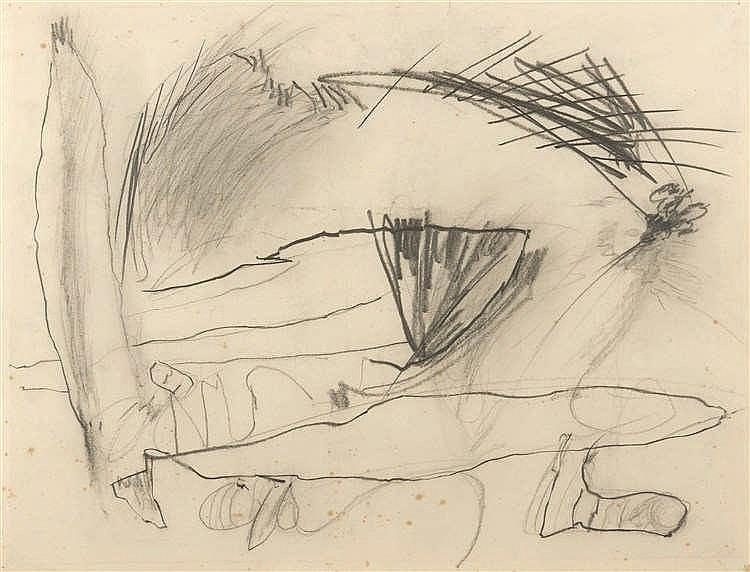 Englebert Van Anderlecht (1918-1961)   Sans titre, n°279 Fusain sur papier