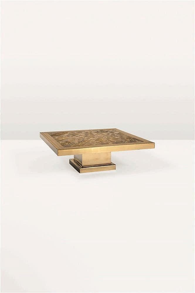 ARMAND JONCKERS (né en 1939)   Bambou Pièce unique Table basse Laiton gravé