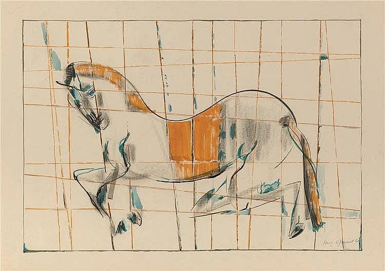 Mig Quinet (1906-2001)   Cheval de manège, 1952 Encre, fusain et aquarelle