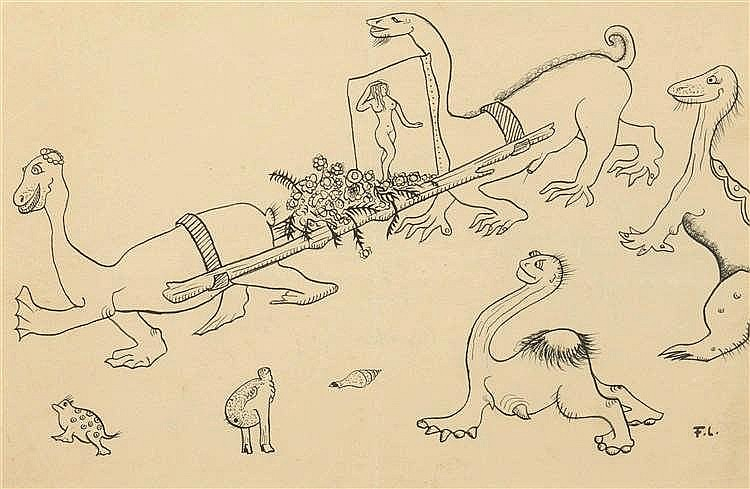 Félix Labisse (1905-1982)   Eve transportée par des animaux préhistoriques