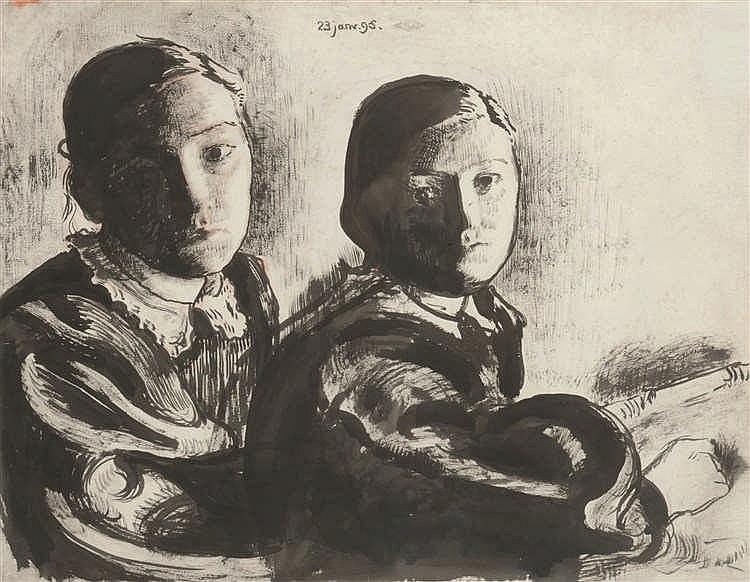 Georges Lemmen (1965-1916) Les sœurs Serruys, 1895 Encre noire et sanguin