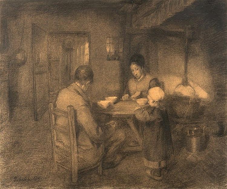 Jakob Smits (1855-1928) Le repas du soir dans un intérieur campinois Fusa