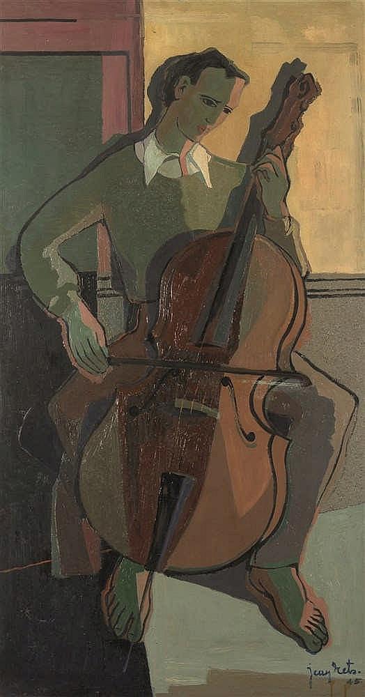 Jean Rets (1910-1998)   Le violoncelliste Huile sur panneau. Signée et daté
