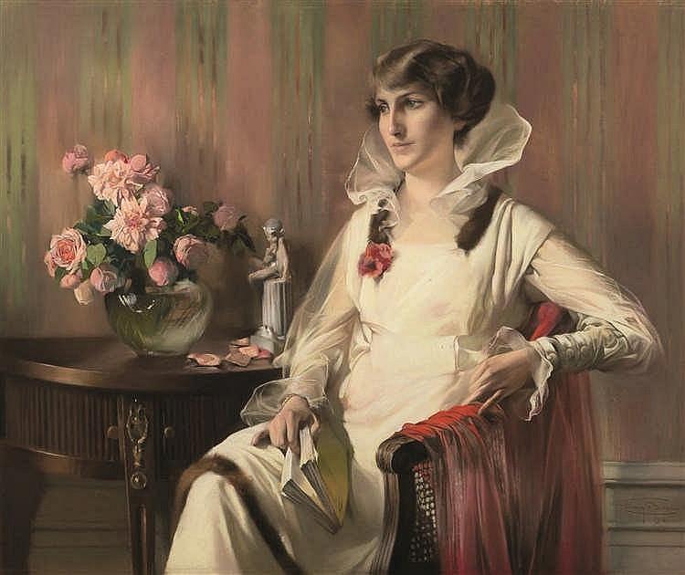 Firmin Baes (1874-1945) Elégante pensive, 1918 Pastel sur papier. Signé e