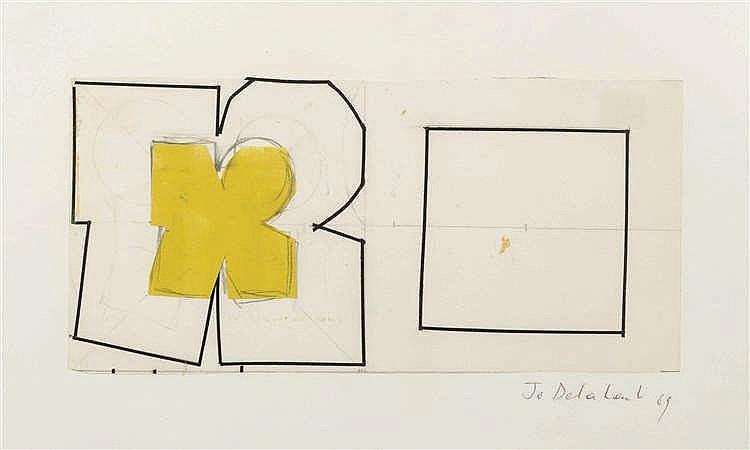 Jo Delahaut (1911-1992) Projet mural, 1965 Collage sur papier. Signé et d