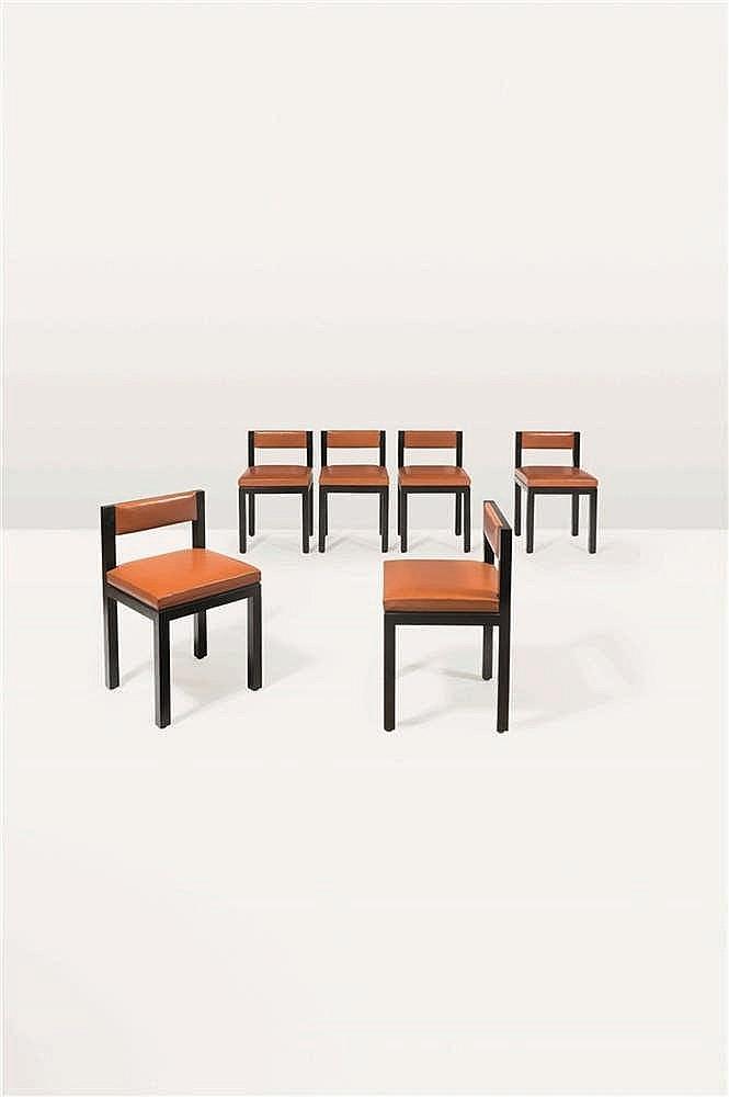Ado CHALE (né en 1928) Suite de six chaises chaises à dosseret bandeau mobi