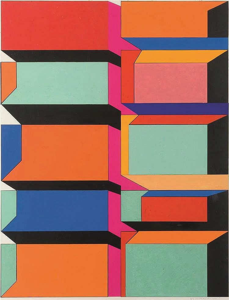 Guy Vandenbranden (1926-2014)   Sans titre, 1970 Gouache sur papier. Signée