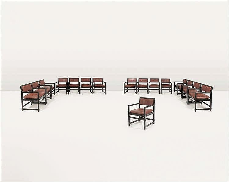 EDWARD J. WORMLEY (1907-1995) Suite de huit fauteuils Bois laqué noir et cu