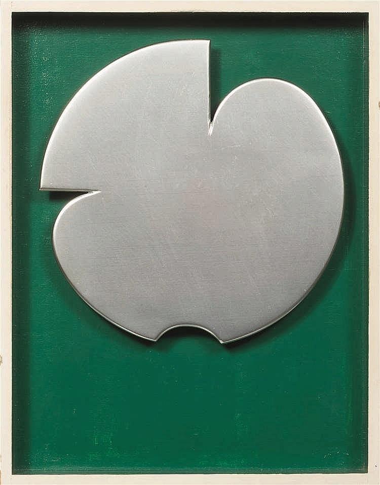 Jo Delahaut (1911-1992)   Formes n°8, 1968 Plaque en aluminium brossé et bo