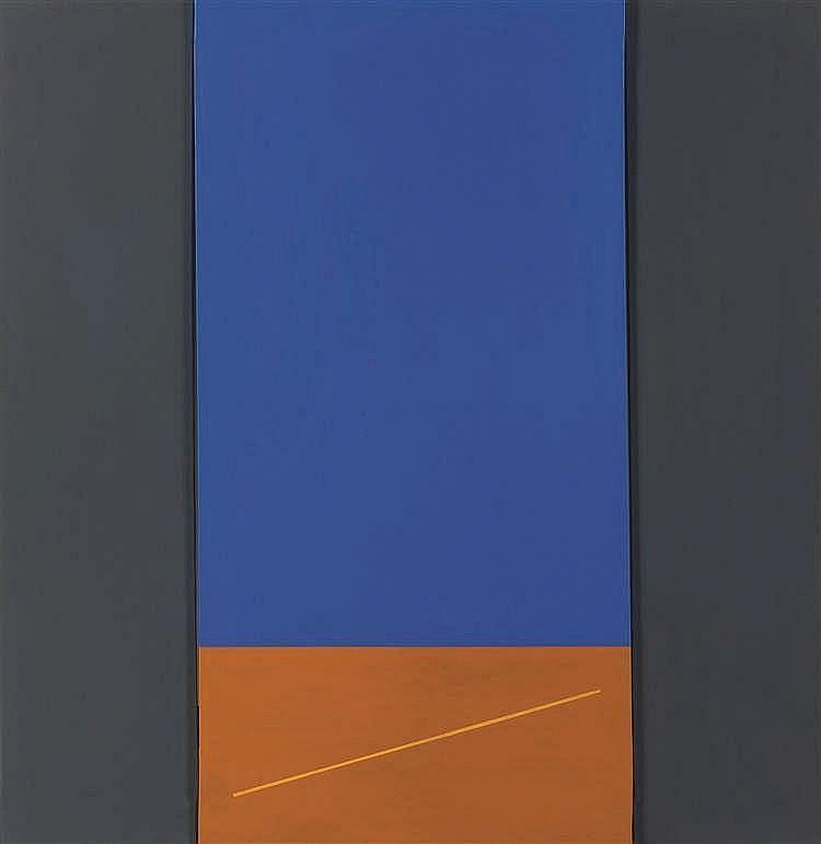 Jean Dubois (1923-1990)   Relief bleu, 1989 Acrylique sur toile. Signée et