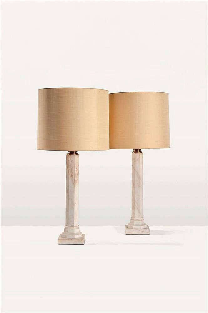 JAN VLUG Paire de lampes Marbre blanc Paar lampen Wit marmer. Circa 1970. H