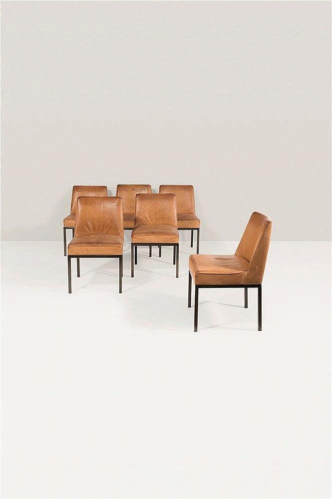 Jules Wabbes (1919-1974) Suite de six chaises Cuir cognac et piétement en m
