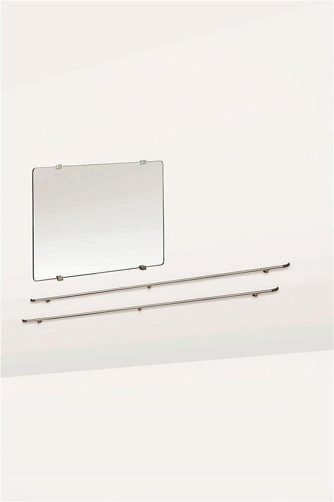Jules Wabbes (1919-1974) Miroir et ses quatre attaches Miroir et métal chro