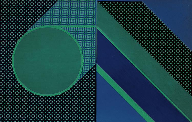 André Goffin (né en 1930)   Du rouge au bleu, 1980 Acrylique sur toile. Sig