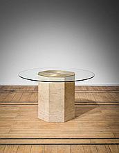 Christian Krekels (né en 1942) Table de salle à manger Travertin, verre e