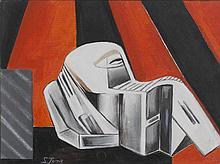 Simonetta Jung (1917-2005) Homo novus n°26, 1974 Huile sur toile collée s