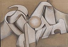 Simonetta Jung (1917-2005) Elountha n°1, 1979 Fusain et craie sur toile.