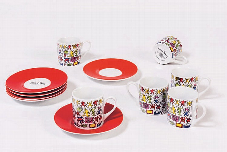 d apres keith haring 1958 1990 lot compos de six tasses. Black Bedroom Furniture Sets. Home Design Ideas