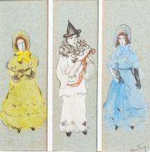 ALICE FREY (1895-1981): TWO LADIES AND PIERROT, MIXED MEDIA ON PAPER