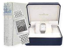 Wristwatch: fine stainless steel gentlemen's watch Jaeger-LeCoultre 'Grand Reverso Duoface Day & Night', ref.270.8.54 with original box and user guide/warranty booklet (NO LIVE FEE)