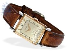 Wristwatch: vintage gentlemen's watch by Le Coultre, rare pink gold/ stainless steel case, ca. 1945 (NO LIVE FEE)