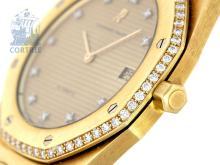 Wristwatch: very high class vintage gentlemen's watch, Audemars Piguet Royal Oak Jumbo with diamonds, ca. 1980, with original box (NO LIVE FEE)