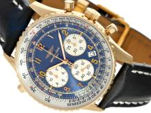 Wristwatch: Breitling rarity, pink gold limited edition Navitimer Rattrapante Etanche, No 22/100, nearly like new, with box and certificates, 1999 (NO LIVE FEE)