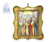 Travel icon: early enamel icon 'holy synod', Russia ca. 1780, Moscow School, with certificates (NO LIVE FEE)