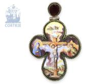 Pendant watch/icon: travel icon/cross pendant, silver/enamel, Russian makers punch A.C 1836, Moscow punch (NO LIVE FEE)
