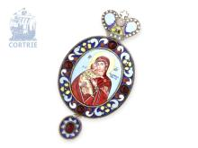 Pendant/icon: travel icon/cross pendant, silver/enamel, Russian makers punch MR 1819, Moscow punch (NO LIVE FEE)