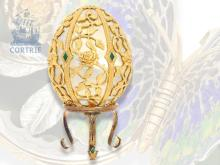 Luxury egg: splendor egg, Fabergé style, exquisite and limited piece, Sterling silver, 20th century, maker's punch FM (NO LIVE FEE)